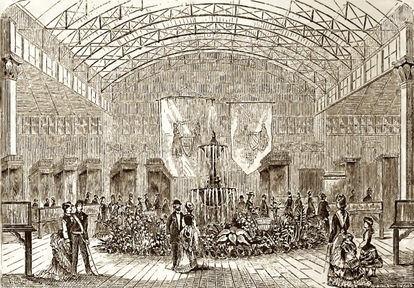 The interior of the 1876 Women's Pavilion. The fountain is very similar.