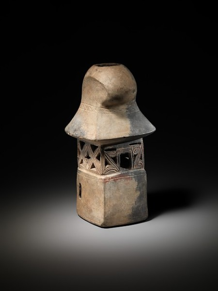 Olmec (Tlatilco) Vessel in the Shape of a Temple with Open Work Walls, Olmec (Tlatilco), Ceramic: Whiteware with traces of red pigment; H. 8 1/2 × W. 4 1/2 × D. 4 in. (21.6 × 11.4 × 10.2 cm) The Metropolitan Museum of Art, New York, Lent by a private collection, 2013 (L.2013.102.1) http://www.metmuseum.org/Collections/search-the-collections/631958