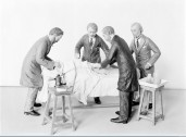 Listerian operation group of wax figures for model